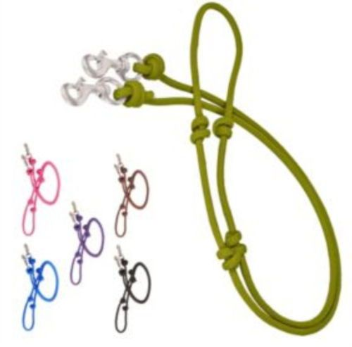 """GREEN /& BLACK 8/' Knotted Rope Barrel Rein 3//4/"""" Round with Trigger Snaps"""